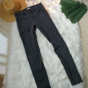 UNIQLO Ultra Stretch Distressed Gray Jeans Size 28